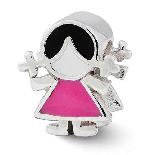 925 Sterling Silver Charm For Bracelet Enameled Pink Dress Girl Bead Fine Jewelry Gifts For Women For Her
