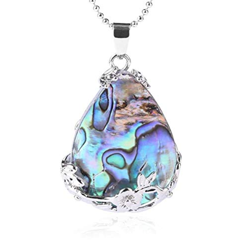 (CosMos777 Abalone MOP Shell Alloy Teardrop Pendant Bead Natural Gem Water Drop Paua Necklace Women Men Reiki Jewelry )