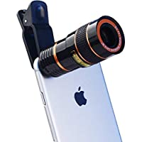 Pithadai 8X Zoom Mobile Phone Telescope Clip Lens for Universal Cell Phone Optical Magnifier Convert Your Android and iOS Device Into A DSLR Like Camera (Black-Red)
