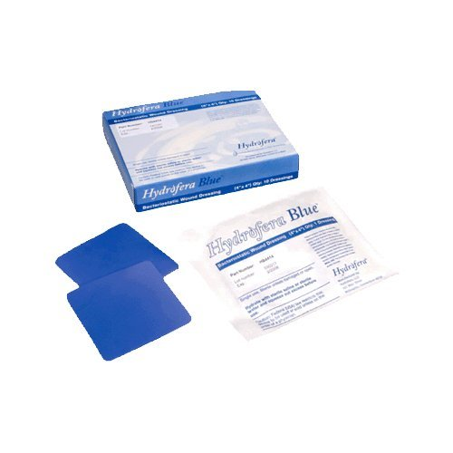 Hydrofera Blue Bacteriostatic Foam Wound Dressing-Without Border, 4'' x 4'' x 0.5'', Heavy Drainage-5/Pack