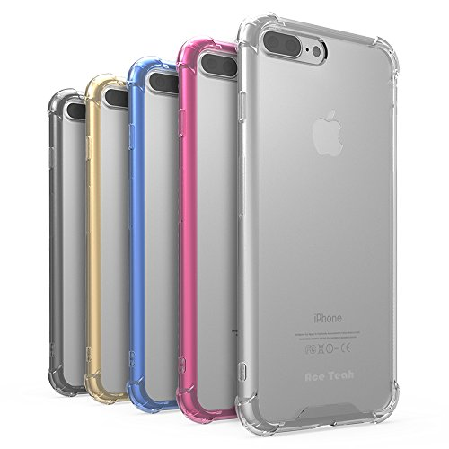 Ace Teah 5 Pack iPhone 7 Plus Case Shockproof iPhone 7 Plus Cover Skin with Transparent Hard Plastic Back and Soft TPU Bumper Protective Case Shell for iPhone 7 Plus, Black, Clear, Gold, Plum, Blue
