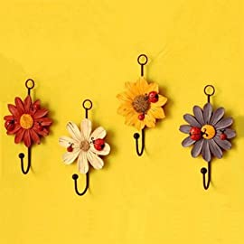 AUCH New/Durable/Beautiful Red/Yellow/White/Purple Color Sunflower Design Wall Key Hook/Rack/Holder Set,Set of 4 34 Package included:1pcs red +1pcs yellow+1pcs white+1pcs purple color sunflower key hooks. Helps you keep up with all those sets of keys. Create a personal and elegant touch to your kitchen!