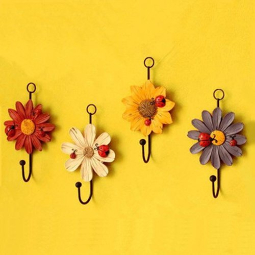 AUCH New/Durable/Beautiful Red/Yellow/White/Purple Color Sunflower Design Wall Key Hook/Rack/Holder Set,Set of 4