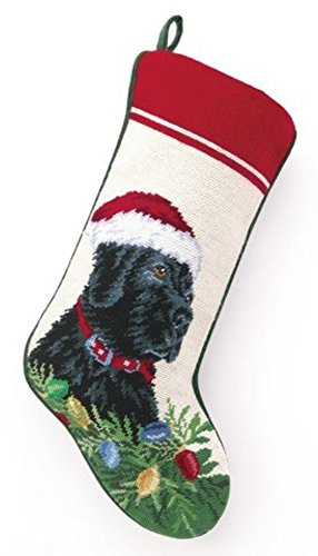 (Black Lab Labrador Retriever Dog Needlepoint Christmas Stocking)