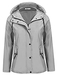 Meaneor Women's Button Down Hooded Lightweigt Waterproof Rainwear Outdoor Jacket