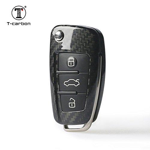 T-carbon étui en fibre de carbone à distance Porte-clés 3K Highlight Vernis sans clé Housse de protection pour Audi A1A3A4L A6Q3Q7TT S3S6Q3
