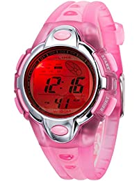 Kid Watch for Child Boy Girl Fashion LED Multi Function Sport Outdoor Digital Dress 50M Waterproof Alarm Pink