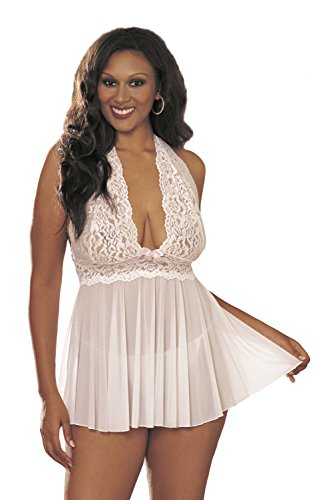 Stretch Camisole Hollywood Of Shirley - Shirley of Hollywood Women's Plus Queen Size Flattering and Fabulous Haltered Babydoll with G String, White, One