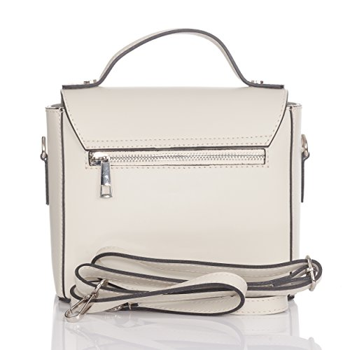 Laura with flat Small size flap Mini with tacks metallic Beige Moretti bag round rYHfrq