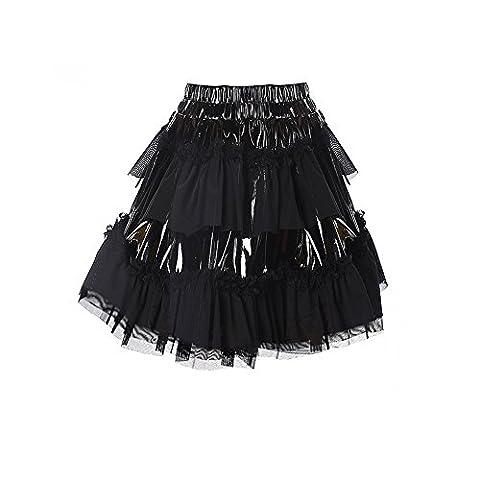 Lorembelle Sexy Women Black Leather Lace Mini Skirt PVC Short Puffy Skirts Vinyl Latex Skirts Clubwear (S, - Black Pvc Vinyl Mini