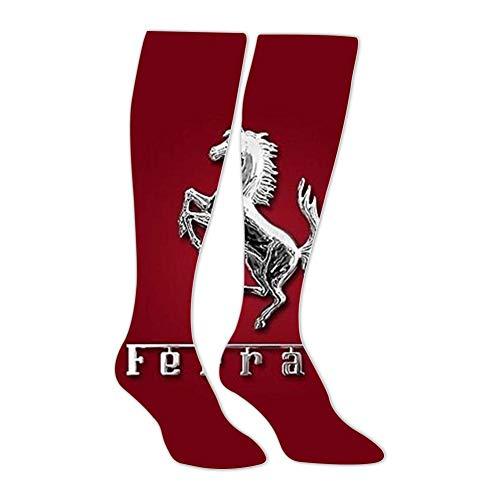 Long Stockings Car Ferr_ari Logo Tube Knee High Socks Athletic Sports Leggings Warm Socks for Man Women