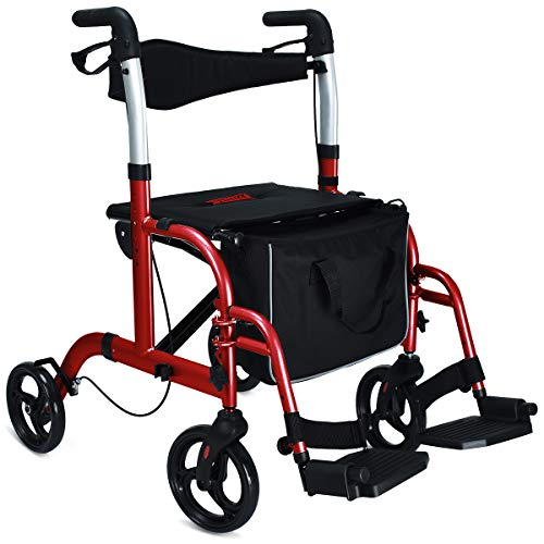 Health Line 2 in 1 Rollator-Transport Chair w/Paded Seatrest, Reversible Backrest and Detachable Footrests, Cherry Red