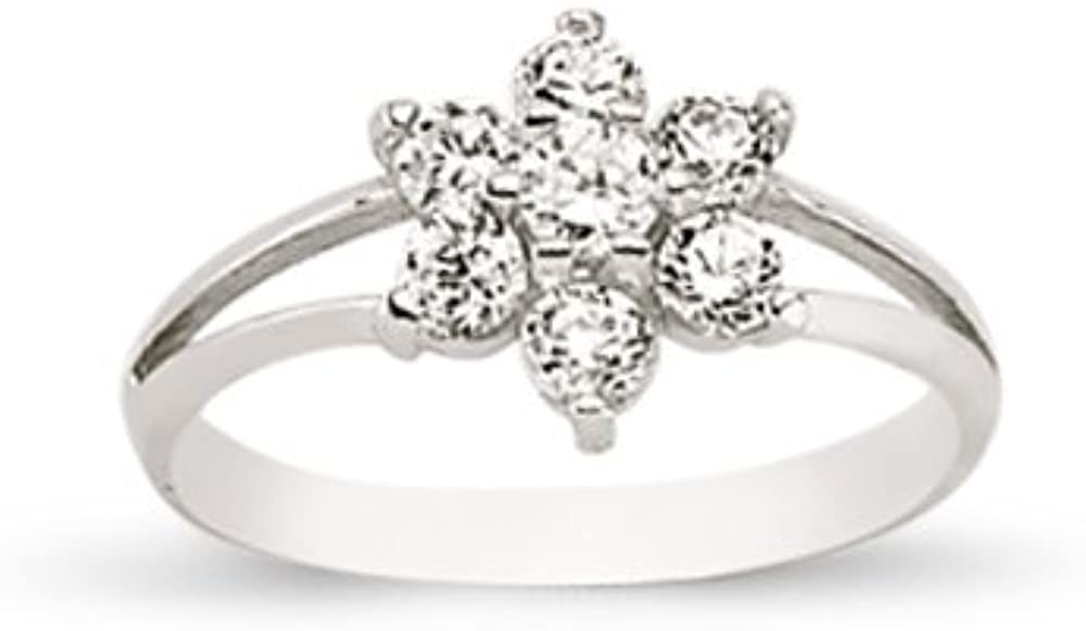 Silver Baby//Kids Cubic Zirconia Flower Ring