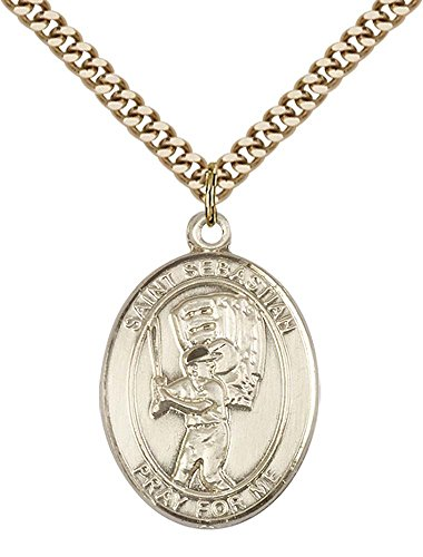 F A Dumont 14kt Gold Filled St. Sebastian/Baseball Pendant with 24