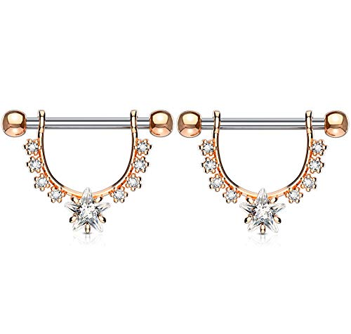 Pierced Owl CZ Crystal Star Center with Lined Prong Set Crystals Dangling Nipple Rings - Sold as a Pair (Rose Gold Tone/Clear)