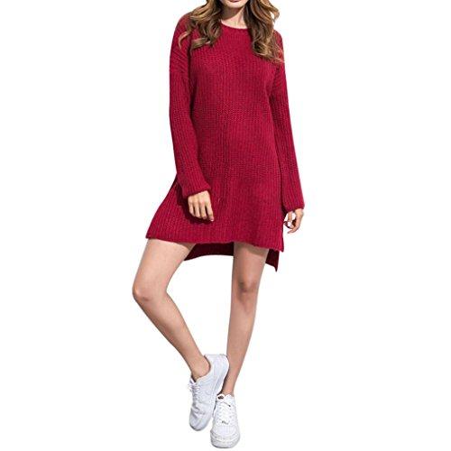 Asymmetric Hem Sweater Kinghard Women Casual Sweaters Solid Long Sleeve Loose O Neck Knitted Dress Split design Wool dress knitwear Sweater Dress (Hot Pink)