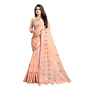 R K Maniyar Creation Women's Linen Pure Weaving Jari Border Saree with Semi-Stitched Blouse Piece (Pink)