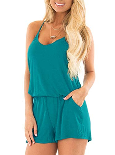 REORIA Womens Casual Summer One Piece Sleeveless Spaghetti Strap Playsuits Short Jumpsuit Beach Rompers Peacock Blue Small