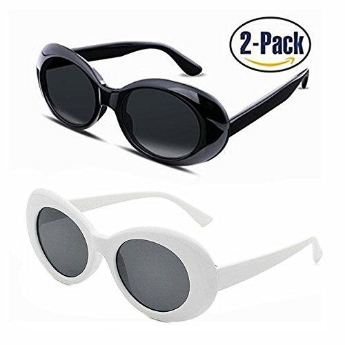 cba80fe024 Bold Retro Clout Goggles Oval Round Kurt Cobain Sunglasses (White+Black