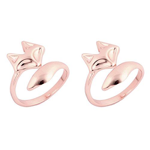 JJTZX Origami Fox Ring in Brass Wrap Around Adjustable Fox Ring Best Friend Ring Gift for Her (Rose gold fox)