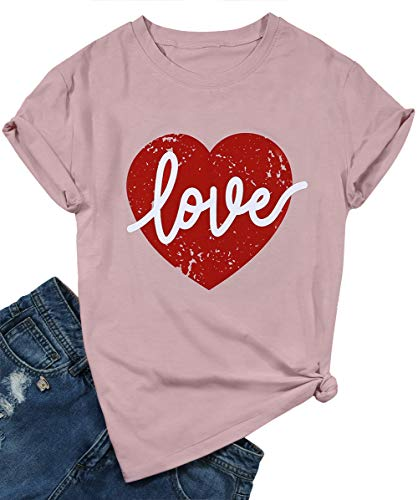 Heart Womens Pink T-shirt - Cute Love Graphic Tee Shirts for Women Teen Girls Short Sleve Letter Print Cute Plaid Heart Tee Shirts Top with Saying Size L (Pink)