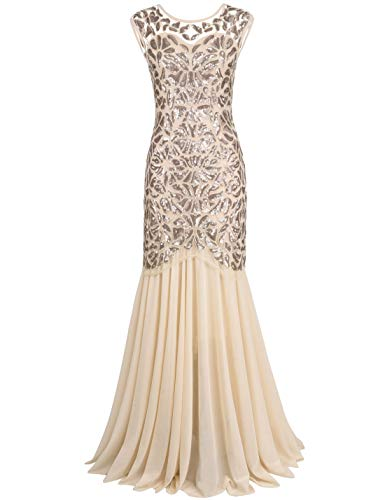 PrettyGuide Women 's 1920s Art Deco Sequin Gatsby Formal Evening Prom Dress L Champagne