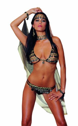 [Dreamgirl Women's Gypsy Dancer Costume Set, Black/Gold, One Size] (G String Halloween Costumes)