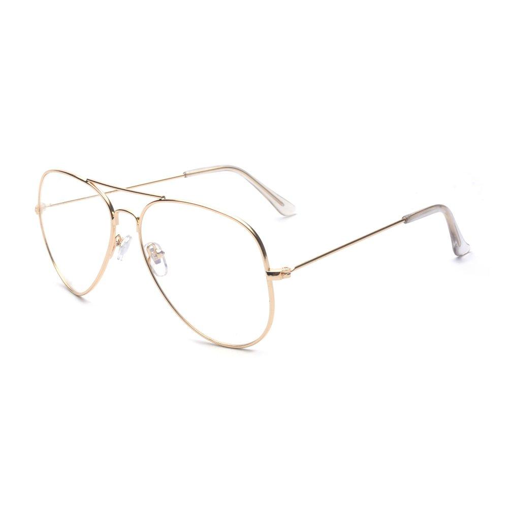 ALWAYSUV Aviator Metal Frame Clear Lens Classic Glasses Eyeglasses B2301-1