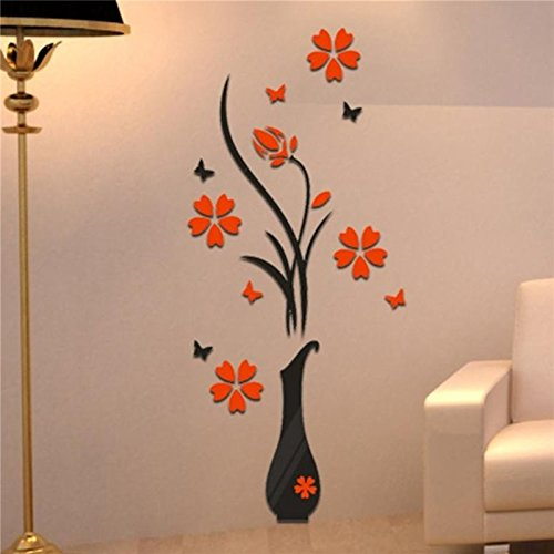 Acrylic Mirror Wall Decals, E-Scenery Flower Tree Removable, used for sale  Delivered anywhere in USA