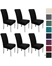 COSCANA, Dining Chair Cover, Set 4 or 6 Pack, Super Fit Stretch Removable Washable Seat Slipcover for Hotel Dining Room Ceremony Banquet Wedding Party (Black, 6)