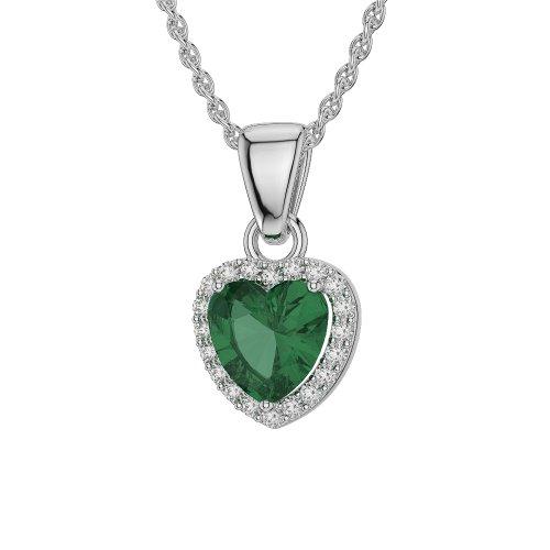 Or blanc/or/Rose/Jaune/Or/Platine en forme de cœur émeraude et diamant collier agdnc-1065-vsgh