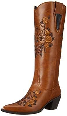 Roper Women's Dawn Western Boot,Floral/Skull Tan,5.5 M US