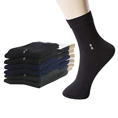 M MOACC Men's 6 Pack Breathable Combed Cotton Cushioned Crew Socks Black Grey Navy 3 Color
