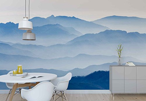 Photo wallpaper wall mural - Mountain Range Layers Mist - Theme Mountains - XL - 12ft x 8ft 4in (WxH) - 4 Pieces - Printed on 130gsm Non-Woven Paper - 1X-1275628V8