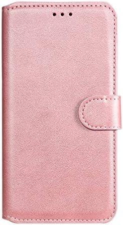 Hoesje voor Moto G6 Plus PU Lederen Flip Cover Notebook Portemonnee Telefoonhoesje met Magnetische Sluiting Stand Card Houder ID Slot Folio voor Motorola Moto G6PlusEYYY010772 Rose goud