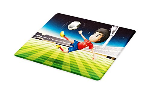 Lunarable Kids Cutting Board, Young Boy Playing Football in the Stadium Athlete Sports Soccer Championship Graphic, Decorative Tempered Glass Cutting and Serving Board, Large Size, Multicolor by Lunarable