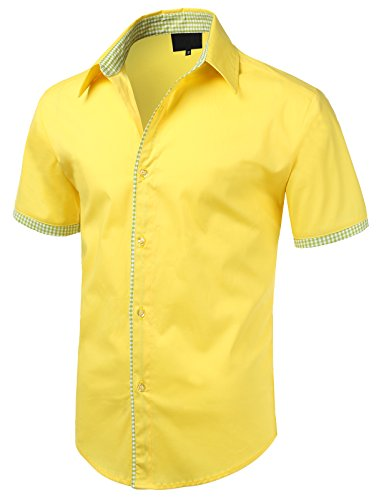 iDarbi Mens Premium Slim Fit Button-down Short Sleeve Shirt YELLOW SMALL