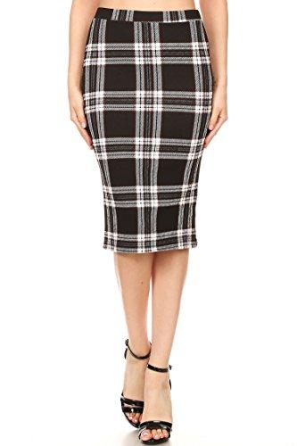 - High Waist Band Bodycon Career Office Midi Stretchy Pencil Skirt/Made in USA PLDBLACK2 3XL