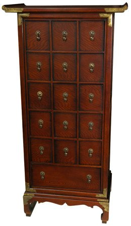 ORIENTAL FURNITURE Asian Chinese Medicine Chest, 54 Inch Classic Japanese  Design 16 Drawer Apothecary