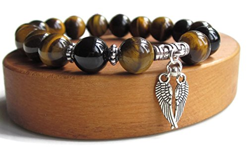 Chunky Tigers Eye - Mens bracelets, Tigers Eye mens bracelet with Angel wings charm, handmade with chunky premium quality 10mm beads