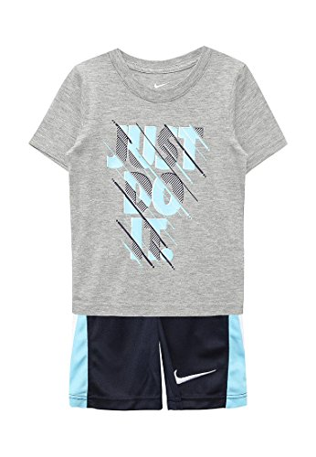 (Nike Just Do It Infant Boys Two Piece Tee Shirt and Short Set Dark Grey Heather/Navy Blue Size 12 Months)