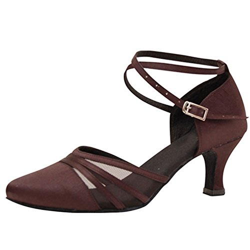 YFF Geschenke Frauen Dance Shoes Ballroom Latin Dance Tango Tanz Shoes 6CM,Brown,38