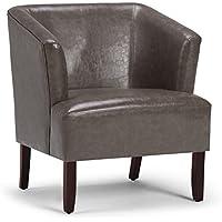 Simpli Home Longford Tub Chair, Elephant Grey