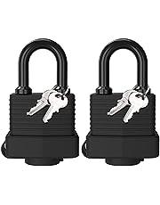 Padlock with Key, [2 Pack] [4 Keys] Diyife Waterproof Lock Key Padlocks Outdoor, 40mm Heavy Duty Padlocks Anticut, Laminated Steel for Gym Locker, Garage, Fence, Shed, Yard
