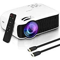Yaufey 2600 Lumens Video Projector Multimedia Home Theater LED Projector Supporting 1080P, HDMI USB SD Card VGA for Home Cinema TV Laptops Game Smartphone iPad with HDMI AV Cable