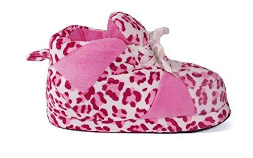Happy Feet Mens Och Womens Vanliga Gymnastik Tofflor Rosa Leopard