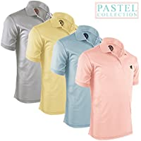 Alfred Morris Mens Short Sleeve Polo Shirts 4 Pack (Pastel Collection)