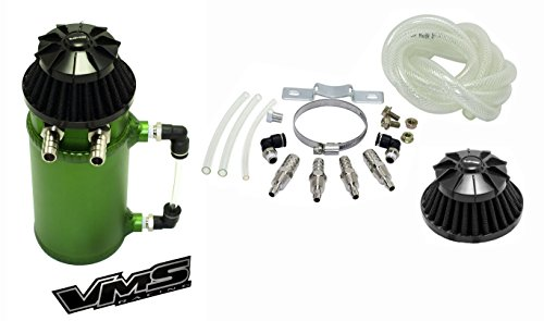- VMS Racing Universal Matte GREEN Aluminum OIL Reservoir CATCH CAN Canister Tank with Breather (Complete Kit)