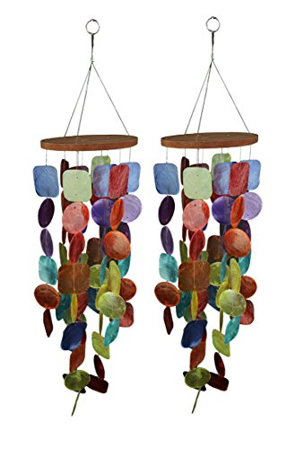 - Chesapeake Bay Set of Two 26 Inch Long Capiz Shell Hanging Wind Chimes