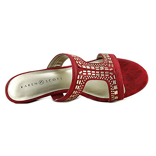 Slide Sandals Scott Toe Open SERYNE Womens Karen Red Casual ISdqw0xY